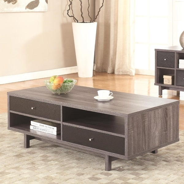 Contemporary 2 Drawer Dual Finish Coffee Table In Wooden Frame, Black And Gray