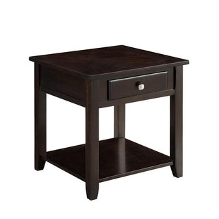 Wooden End Table With Drawer and Bottom Shelf, Walnut Brown