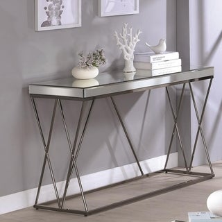 Modern Mirrored Sofa Table With Double X framed Base , Nickel Black