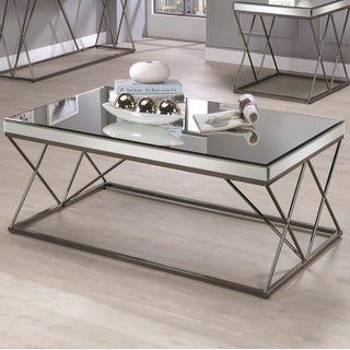 Modern Mirrored Coffee Table With Double X framed Base , Nickel Black