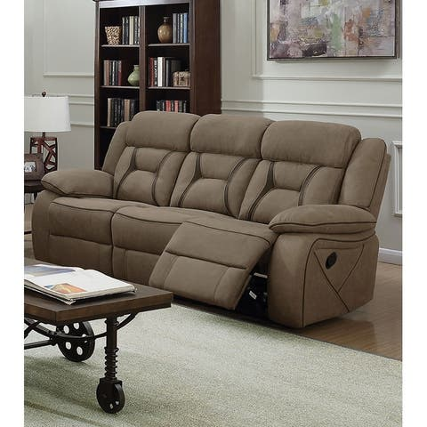 Fabric Upholstered Padded Microfiber Motion Sofa With Contrast Stitching, Brown