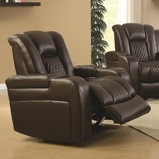 Contemporary Style Padded Plush Leatherette Power Recliner, Brown