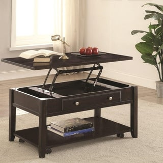 Modern Lift Top Wooden Coffee Table With Storage & Shelf, Walnut Brown