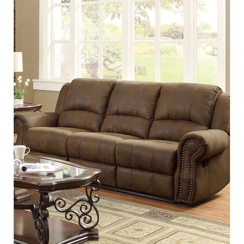 Contemporary Style Padded Microfiber Motion Sofa With Nailhead Accents, Brown