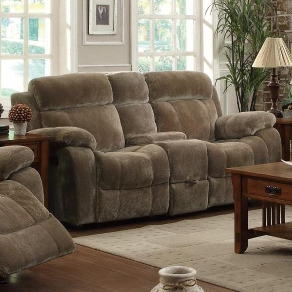 Velvet Upholstered Padded Plush Motion Loveseat, Brown