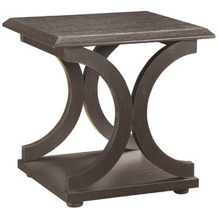 Contemporary Style C-Shaped End Table With Open Shelf & Tabletop, Espresso Brown