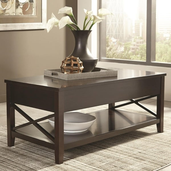 Contemporary Wooden X-framed Coffee Table, Brown