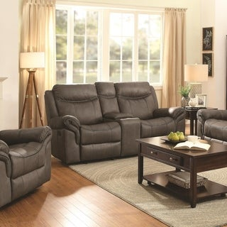 Padded Plush Leather Glider Motion Loveseat In Contemporary Style, Brown