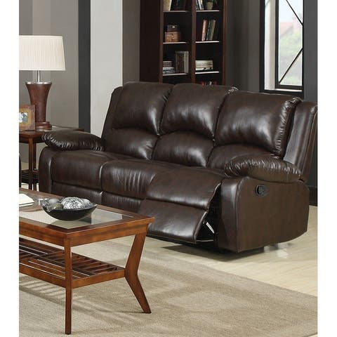 Modern Style Three Seat Reclining Motion Sofa In Leatherette, Brown