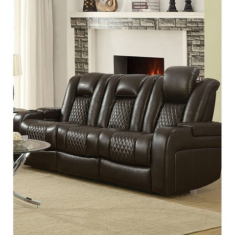 Contemporary Style Padded Plush Leatherette Power Motion Sofa, Dark Brown
