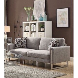 Fabric Upholstered Sofa With U- Shaped Steel Legs, Light Gray and Silver