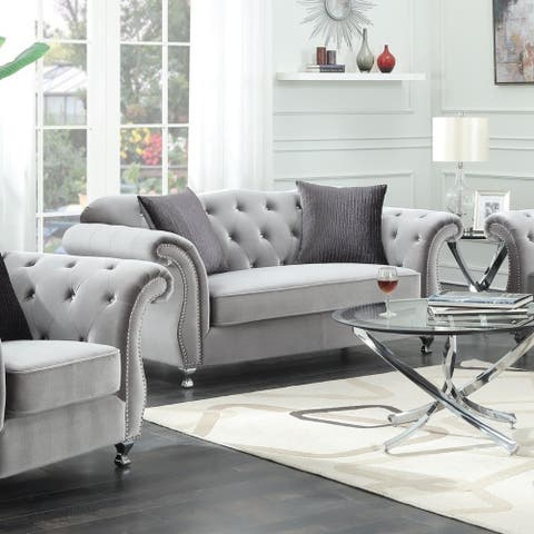 Fabric Upholstered Loveseat With Nail Head Accents And Chrome Legs, Light Gray