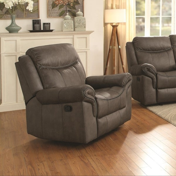 Padded Plush Leatherette Glider Recliner In Contemporary Style, Brown