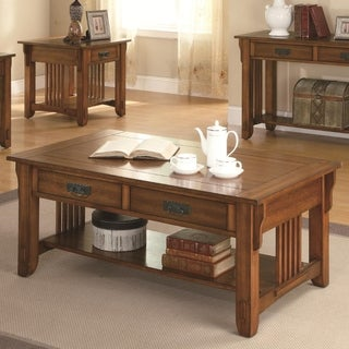 2 Drawer Transitional Style Slated Wooden Coffee Table With Bottom Shelf, Brown