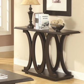 Contemporary Style C-Shaped Sofa Table With Open Shelf, Espresso Brown