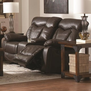 Leatherette Upholstered Contemporary Reclining Love Seat With Cup Holders, Brown