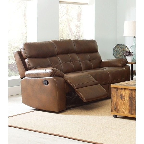 Contemporary Style Button Tufted Faux Leather Reclining Sofa, Brown