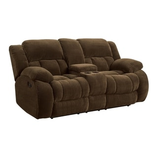 Fabric Upholstered Reclining Motion Loveseat With Cupholders and Storage, Brown