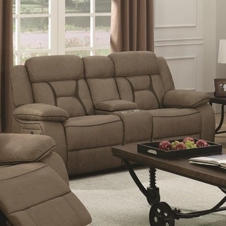 Fabric Upholstered Microfiber Motion Loveseat With Console, Brown