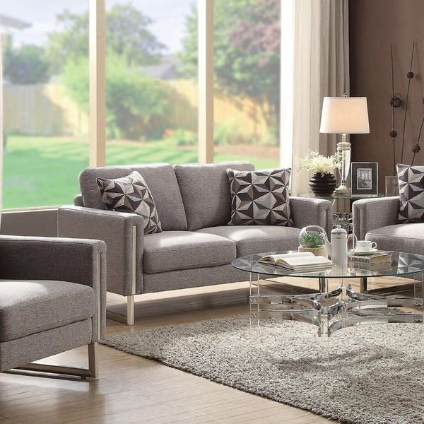 Fabric Upholstered Loveseat With U- Shaped Steel Legs, Light Gray and Silver