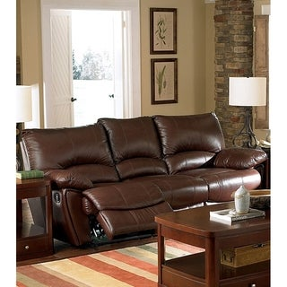 Plush Padded Leather Upholstered Double Recliner Contemporary Sofa, Brown