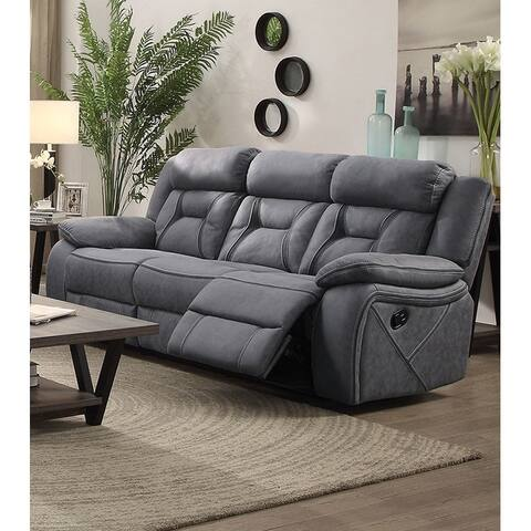 Fabric Upholstered Padded Microfiber Motion Sofa With Contrast Stitching, Gray