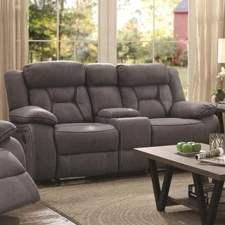 Fabric Upholstered Microfiber Motion Loveseat With Console, Gray