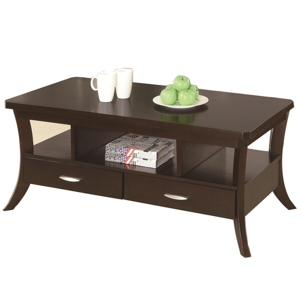 Contemporary Coffee Table With 2 Bottom Drawers & Open Shelves, Espresso Brown