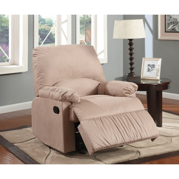 Contemporary Style Plush Padded Glider Recliner With Pillow Armrest, Beige
