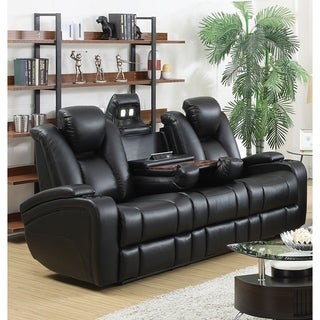 Leatherette Upholstered Contemporary Power Reclining Sofa With Gadgets, Black