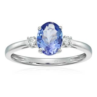 Pinctore 14k White Gold Tanzanite and Diamond Classic Engagement Ring, Size 7