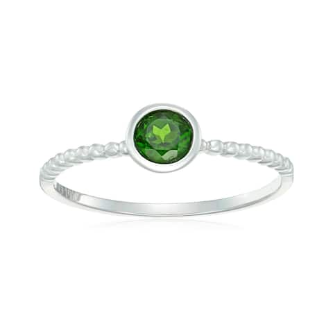 Pinctore 10k White Gold Chrome Diopside Solitaire Beaded Shank Stackable Ring, Size 7