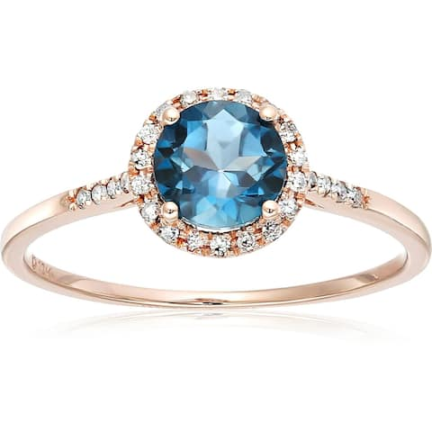 Pinctore 10k Rose Gold London Blue Topaz and Diamond Classic Princess Di Halo Engagement Ring, Size 7