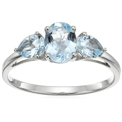 10k White Gold Aquamarine Oval and Pear 3-Stone Ring, Size 7