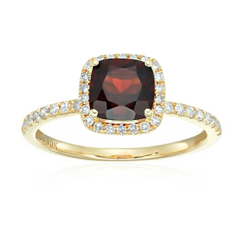 Pinctore 10k Yellow Gold Red Garnet and Diamond Cushion Halo Engagement Ring, Size 7