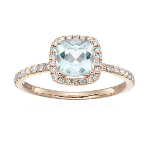 Pinctore 10k Rose Gold Aquamarine and Diamond Cushion Halo Engagement Ring, Size 7