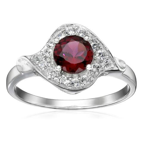 Sterling Silver Rhodolite and Created White Sapphire Ring Size - 7