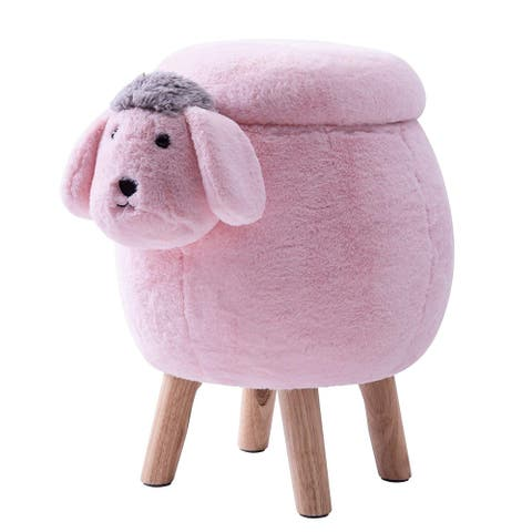Merax Upholstered Ride-on Storage Sheep Animal Ottoman Footrest Stool