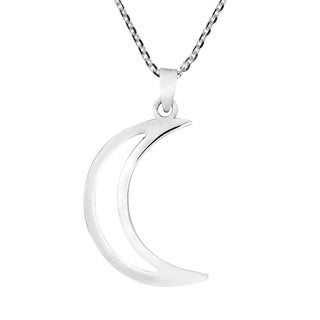 Handmade Simple yet Stunning Sterling Silver Crescent Moon Pendant Necklace (Thailand)