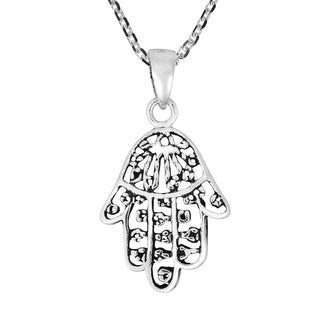 Handmade Beautifully Decorated Hamsa Hand Sterling Silver Charm Necklace Thailand