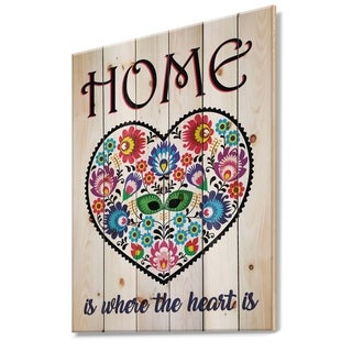 Designart 'Home is where the heart is. Flower heart' Textual Entrance Art on Wood Wall Art - Multi-color