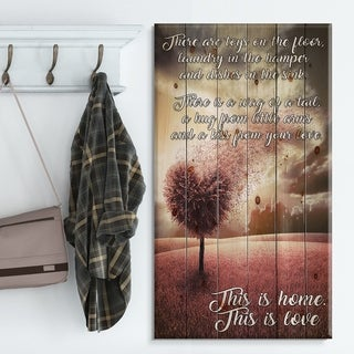 Designart 'There toys on the floor. Pink Tree heart landscape' Textual Entrance Art on Wood Wall Art - Multi-color