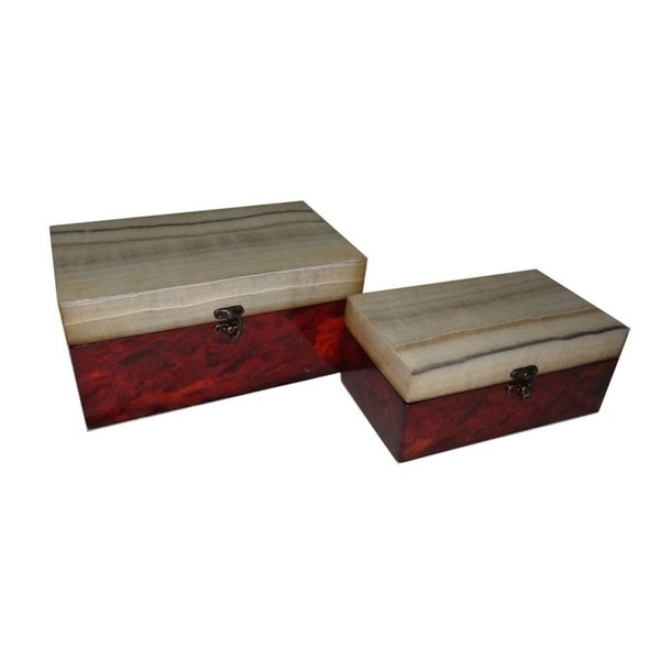 Cheung's Wooden Decorative Box with Marble Design Top, Multicolor - Set of 2