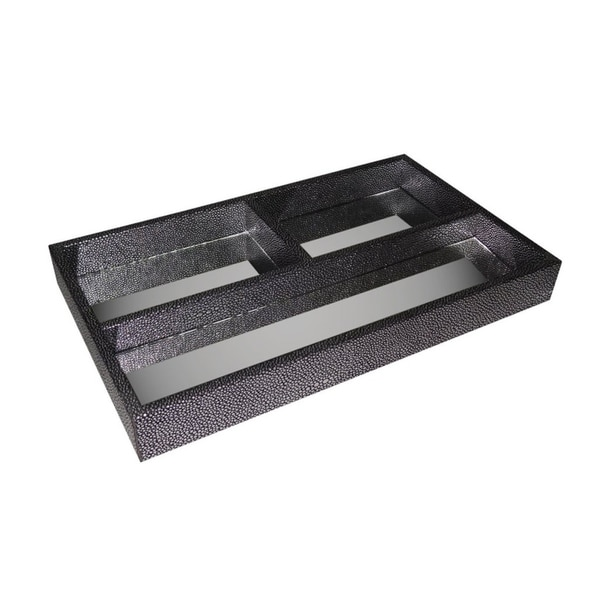 Cheung's Silver Shagreen 3 Storage Compartment Rectangular Tray with Center Mirror