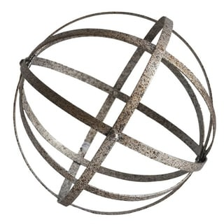 """Cheung's Handmade and Hand Painted Distressed Metal Folding Orb Decor - 10"""" Diameter"""