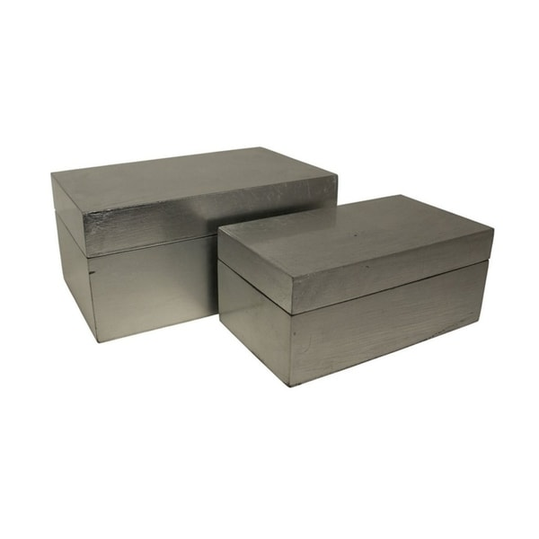 Cheung's Silver Leaf Wooden Decorative Storage Box - Set of 2