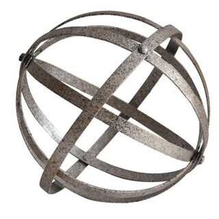 """Cheung's Handmade and Hand Painted Distressed Metal Folding Orb Decor - 7.5"""" Diameter"""