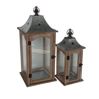 Cheung's Wooden Lantern with Glass Window and Metal Roof, Brown - Set of 2