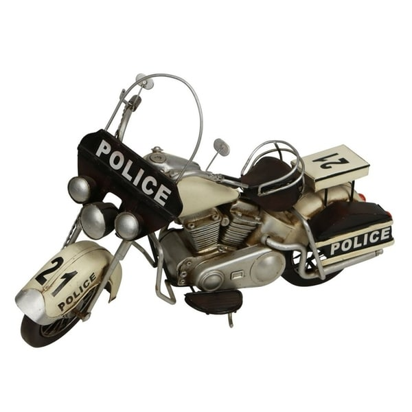Cheung's Handcrafted Distressed Metal Police Motorcycle Figurine - White and Black