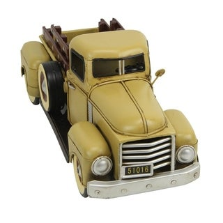 Cheung's 1950's Style Handcrafted Distressed Metal Truck Figurine - Yellow